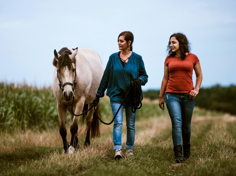 Pferdeverhalten verstehen: Tiercoach Sonja Neuroth geht zusammen mit einer Klienten und ihrem Pferd spazieren